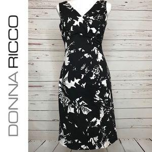 DONNA RICCO | Black & White Midi Dress Size 10